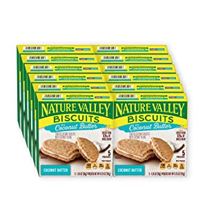 Nature Valley Biscuits, Coconut Butter, Breakfast Biscuits with Coconut Filling, 5 Pouches, 1.35 oz (Pack of 12)