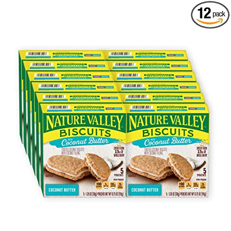 Nature Valley Toasted Coconut Biscuits with Coconut Filling, 5 ct, 6.75 oz (Pack of 12)