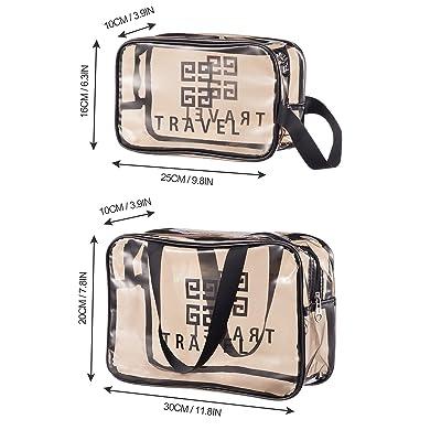 2Pcs Transparent Handbag Waterproof Makeup Bag Shiny Clear Handbag Storage Bag