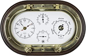 Bey-Berk SQB549 Lacquered Brass Oval Porthole Quartz Clock, Barometer, Thermometer and Hygrometer on Mahogany Wood, Black