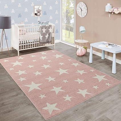 Moderne Poils Ras Tapis Enfant Motif étoilé Chambre Denfant Pastel Rose Blanc Dimension120x170 Cm