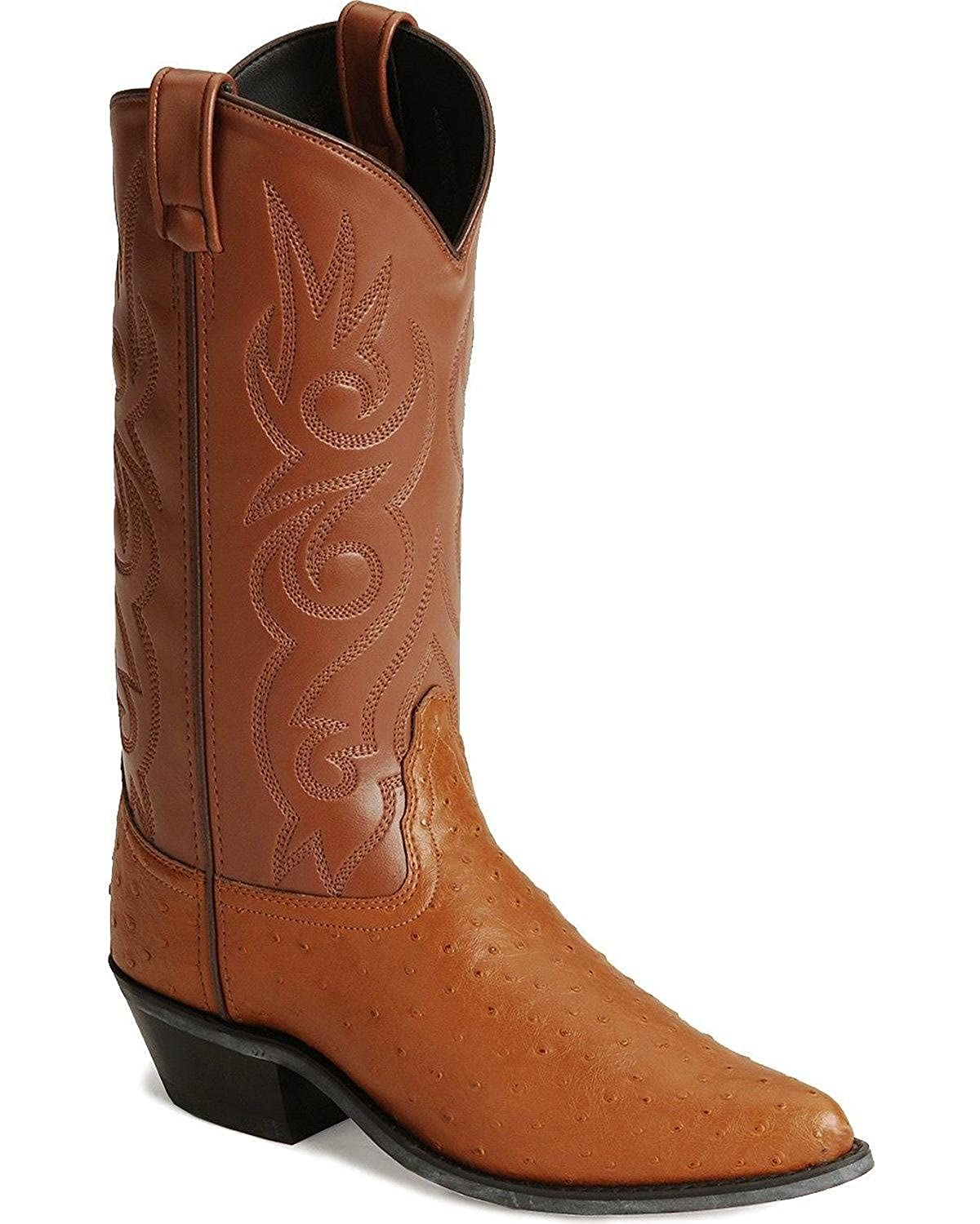 Old West Men's Fancy Stitched Ostrich Print Cowboy Boot Pointed Toe - Vcm9022