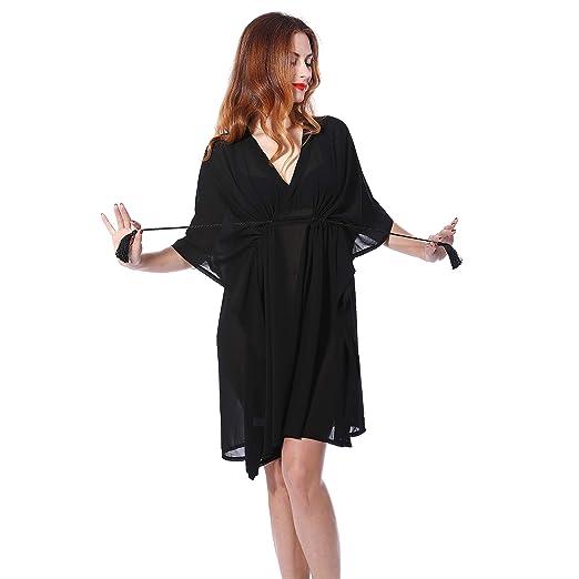 f12558e940 Women s Cover Up Beach Suit Pearl Chiffon Outdoor Ventilate Cardigan Black  Swimwear Dress