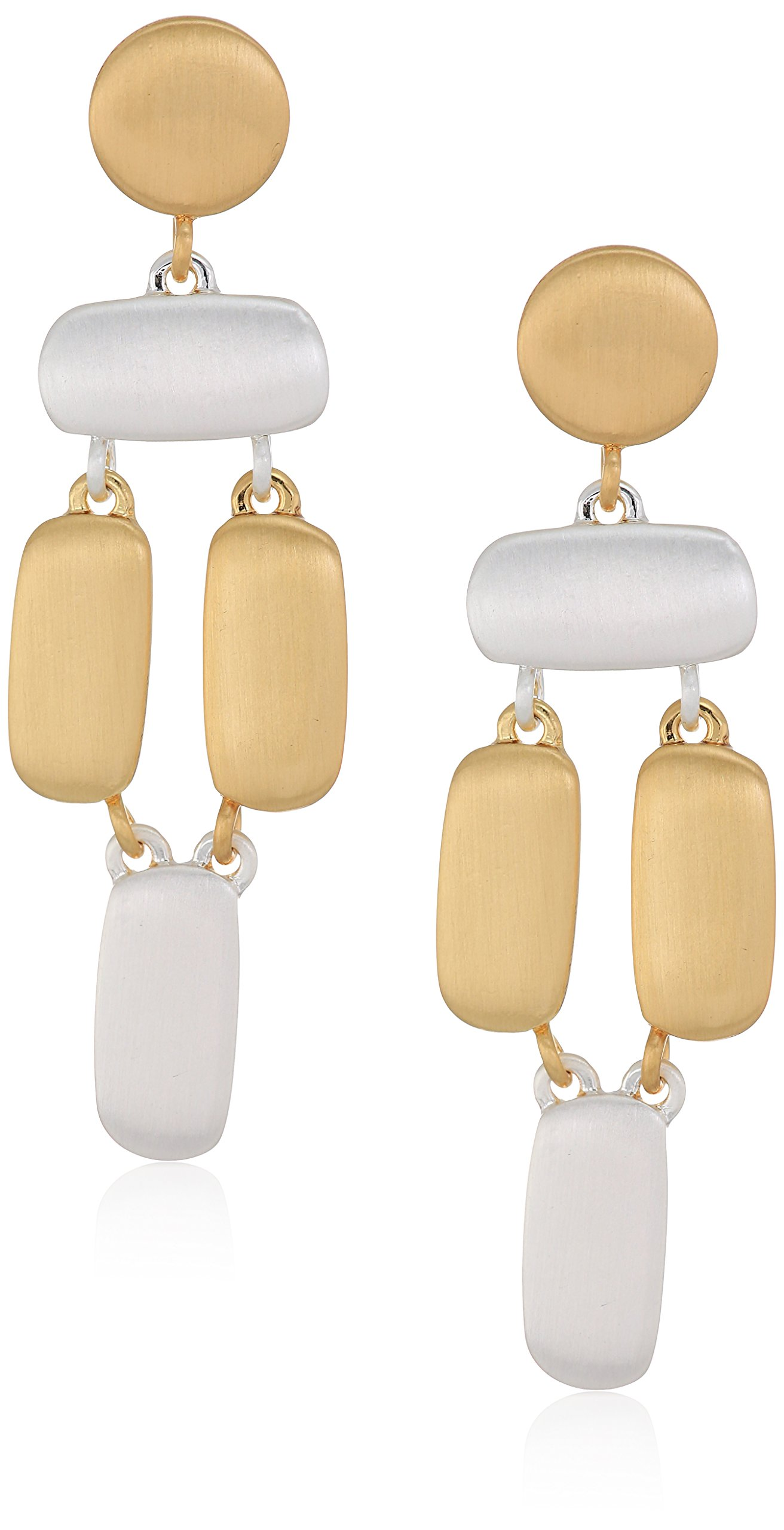 Lucky Brand Womens Brushed Earrings, Two Tone, One Size