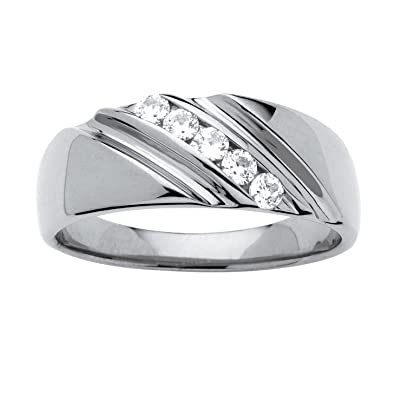 0f7beacd6d878 Men's Platinum over Sterling Silver Round Cubic Zirconia Diagonal Channel  Wedding Band Ring