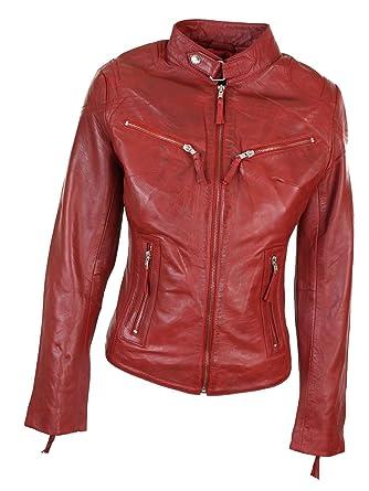 Veste Cuir Rock Look Rouge Véritable 100 Motard Biker Style Amazon 7CxCw6d