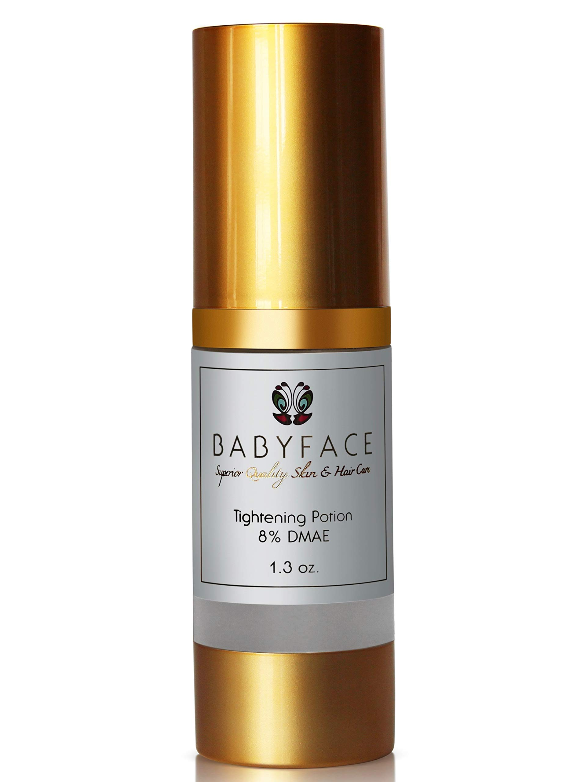 Babyface DMAE Serum at 8%, Anti-Ageing for Face & Neck, Pore Minimizer | No Wrinkles & Fine Lines, Tightening, Instant Lift, Moisturiser, Collagen Booster, Sagging Skin Repair, Give Tone & Elasticity