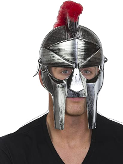 Argent Gladiateur Romain Casque Adultes Centurion en plastique accessoire robe fantaisie
