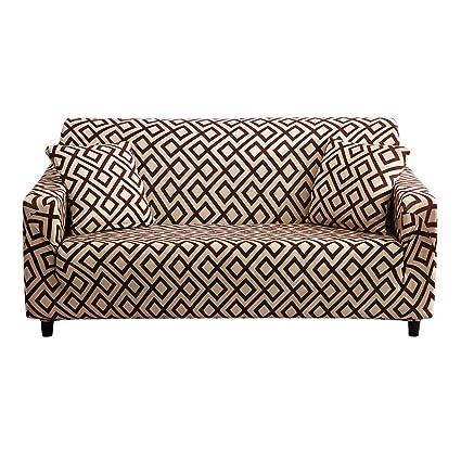 Hotniu Cepillado Fundas de Sofá Impreso Reversible Funda para Sofá 1 Pieza Elástica Sofá Pantalla para Muebles (Una Plaza, Patron #DSCB)