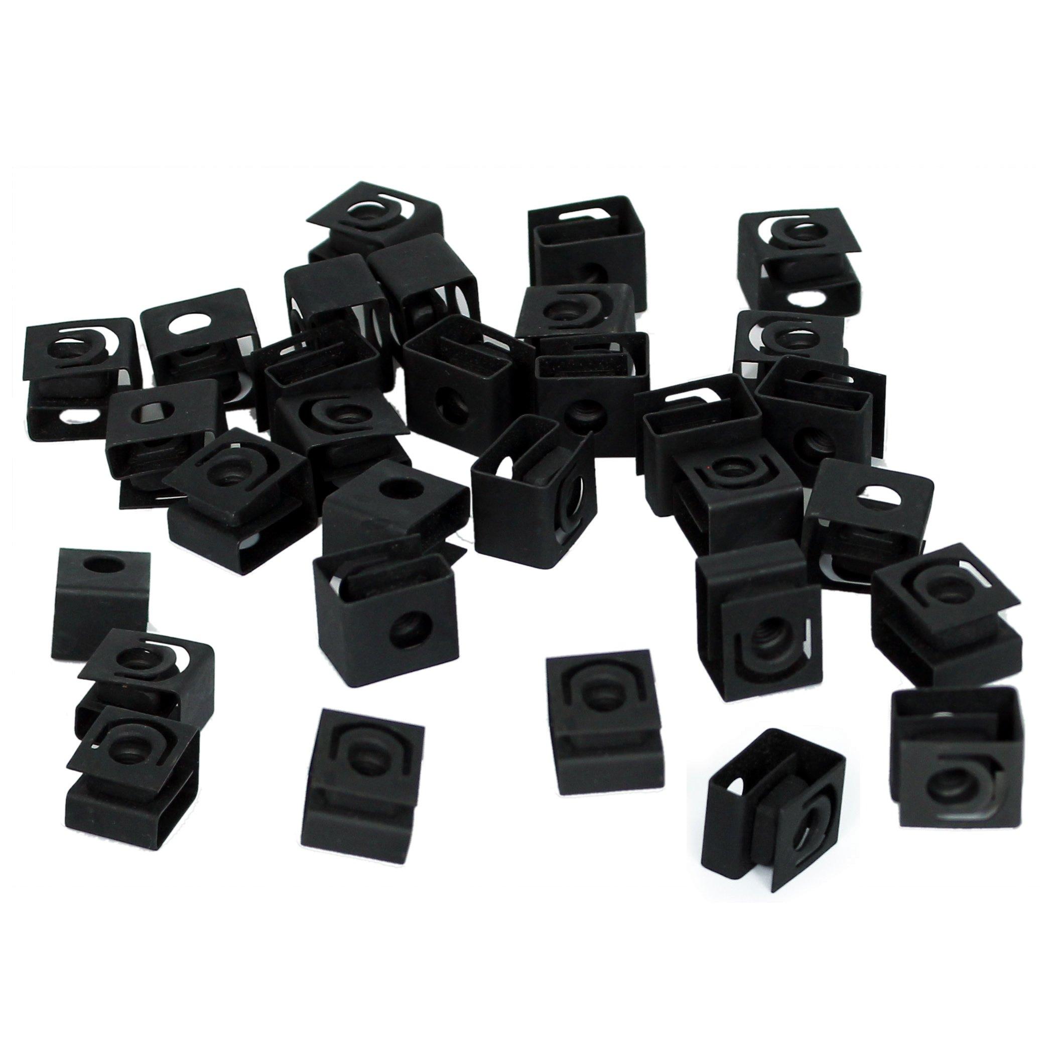 TCH Hardware 100 Pack Black Steel Cage Nuts 10-32 UNF - Network Server AV Rack Mount Shelves Cabinet Rail Caged Captive Clip by TCH (Image #1)