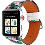 WONMILLE Bands for Apple Watch 38mm, Fancy Flower Printed Soft Leather Replacement Strap Wrist Watch Band for Apple Watch iwatch Series 1 Series 2 Series 3