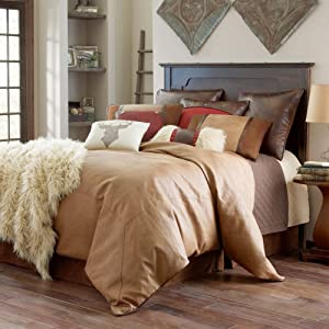 Comforter Set. This 4-piece Home Bedding Linens For Bedroom Furniture Includes Comforter, 2 Pillow Shams And Bed Skirt. Luxurious, Cozy Kit In Southwestern Lodge Look & Tan, Brown Colors. (Queen)