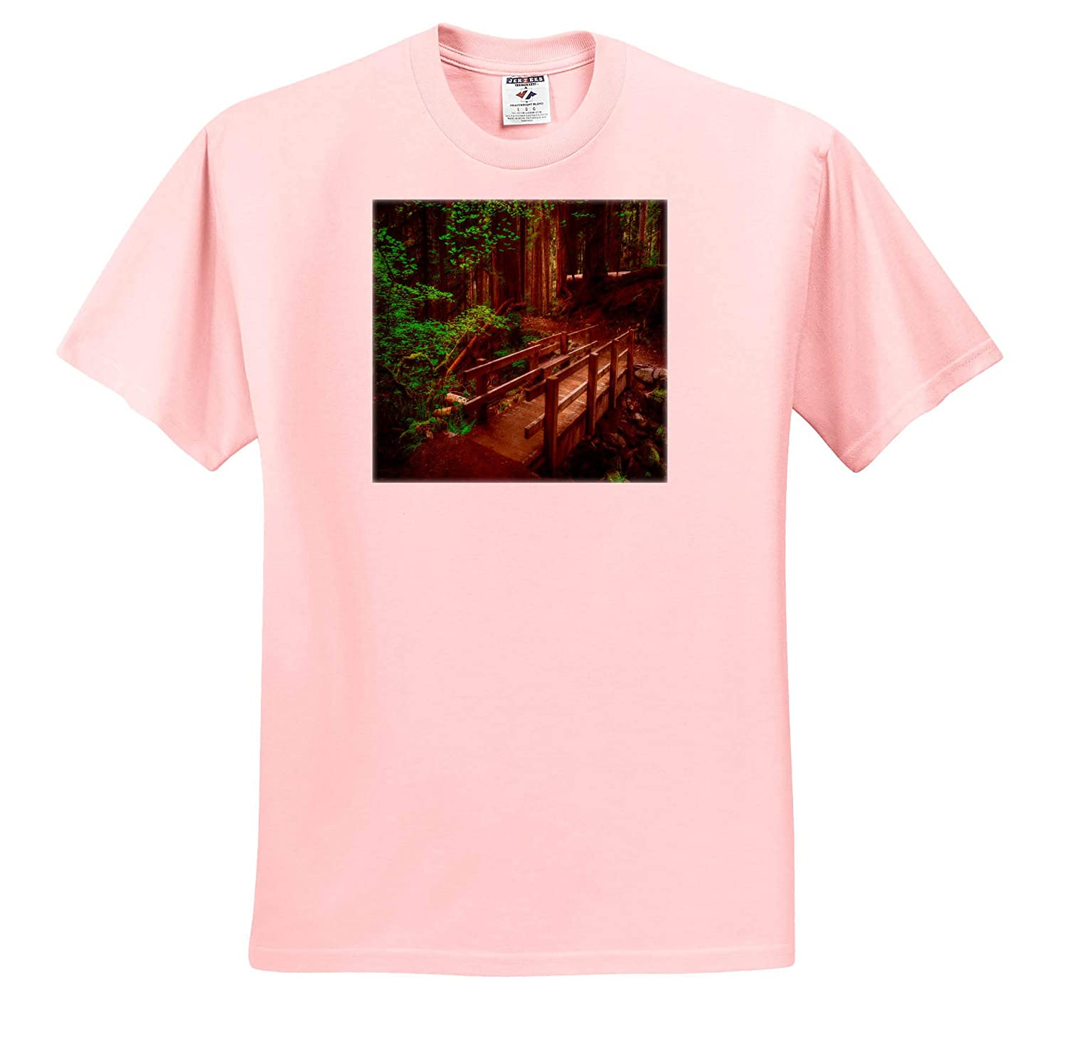 3dRose Mike Swindle Photography Walking Bridge Across Creek in The Forest T-Shirts Landscapes