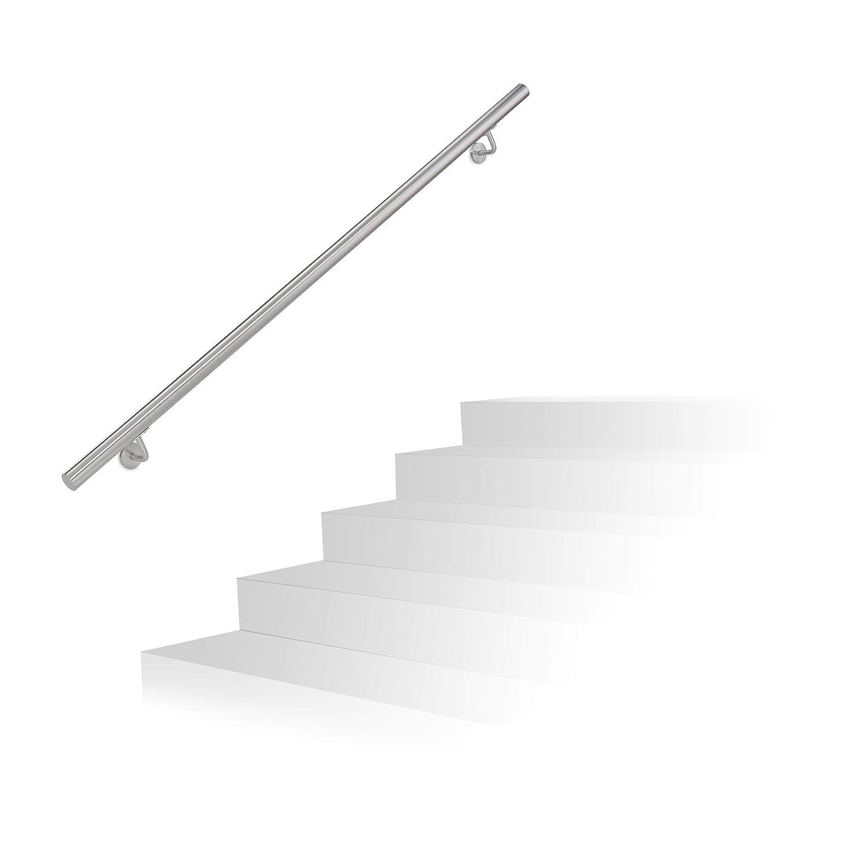 Relaxdays 10020765  Main courante en inox rampe escalier support mural 150 cm avec vis en m/étal anthracite