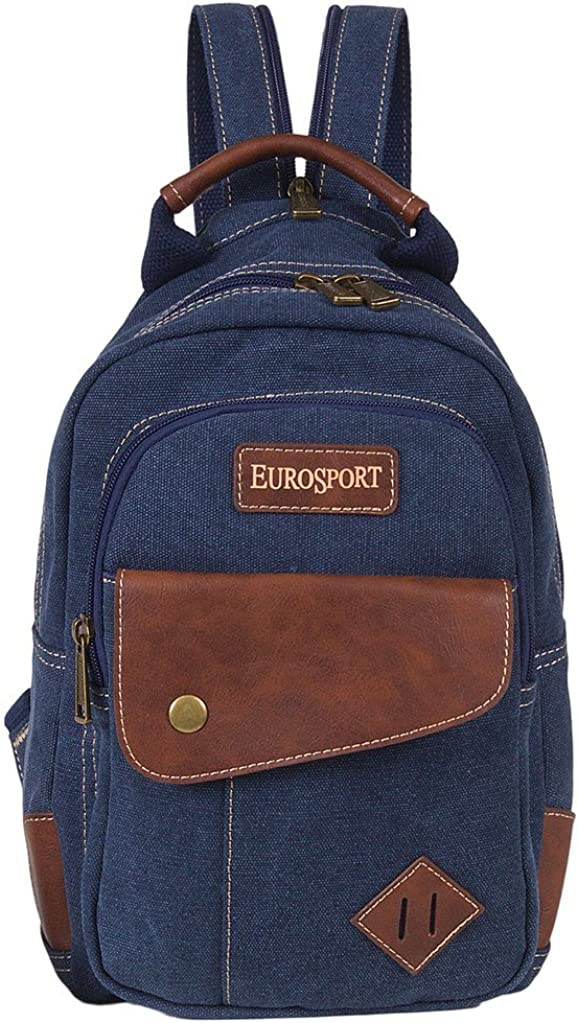 Eurosport Stylish Functionable Split Strap Sling or Backpack Canvas Bag Blue B426