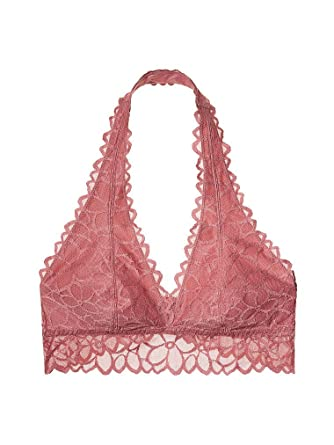 Victoria s Secret PINK Unlined Floral Lace Halter Bralette Soft Begonia  (Medium)