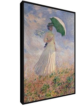 Claude Monet Frau Mit Sonnenschirm 40x60 Cm Leinwandbild Mit