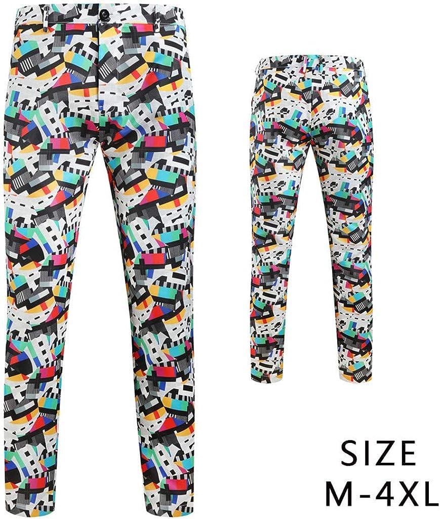Houshelp Mens Plain-Front Pant Slim-Fit Straight Fit Suits Trousers Party Tuxedo Pants Printing Wedding Formal Pants