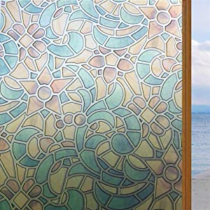 """LOKHOM Privacy Window Film, Vintage Stained Glass Frosted Window Film Non-Adhesive Orchid Glass Film, Decorative Static Cling Window Film for Home UV Blocking/Privacy/Heat Insulation, 23.6"""" x 78.7"""""""