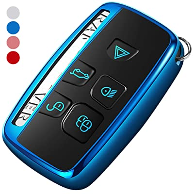 Uxinuo Compatible with Range Rover Key Fob Cover Case Premium Soft TPU Key Fob Case for Defender Discovery Sport LR4 Range Rover Sport and Jaguar XF XJ XJL XE F-PACE Jaguar 5-Buttons Blue: Automotive
