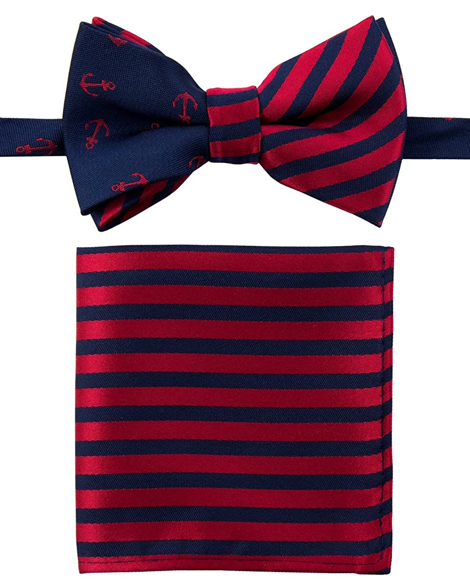 Canacana Classic Anchor Pre-tied Boy's Bow Tie with Stripes Pocket Square Set