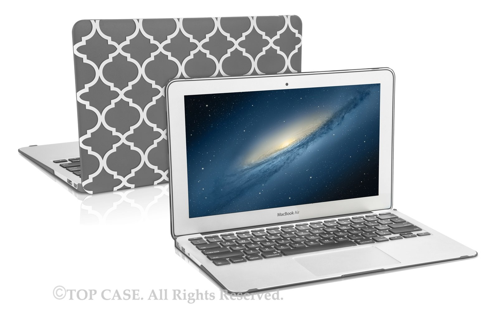 TopCase Quatrefoil/Moroccan Trellis Gray Ultra Slim Light Weight Rubberized Hard Case Cover for MacBook Air 11'' Model: A1370 and A1465 by TOP CASE (Image #3)