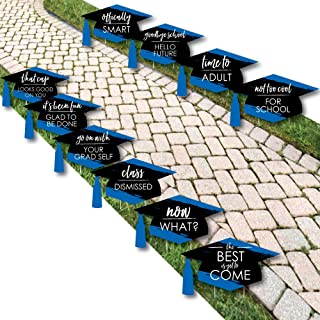 product image for Blue Grad - Best is Yet to Come - Grad Cap Lawn Decorations - Outdoor Royal Blue Graduation Party Yard Decorations - 10 Piece
