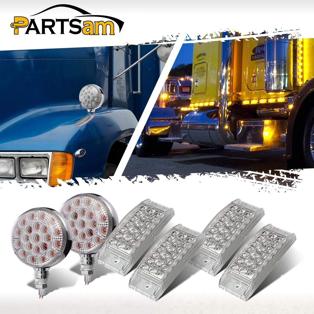 Clear Lens Amber//Red 21LED Turn Signal Stud Light+Yellow Truck Led Side Marker 4