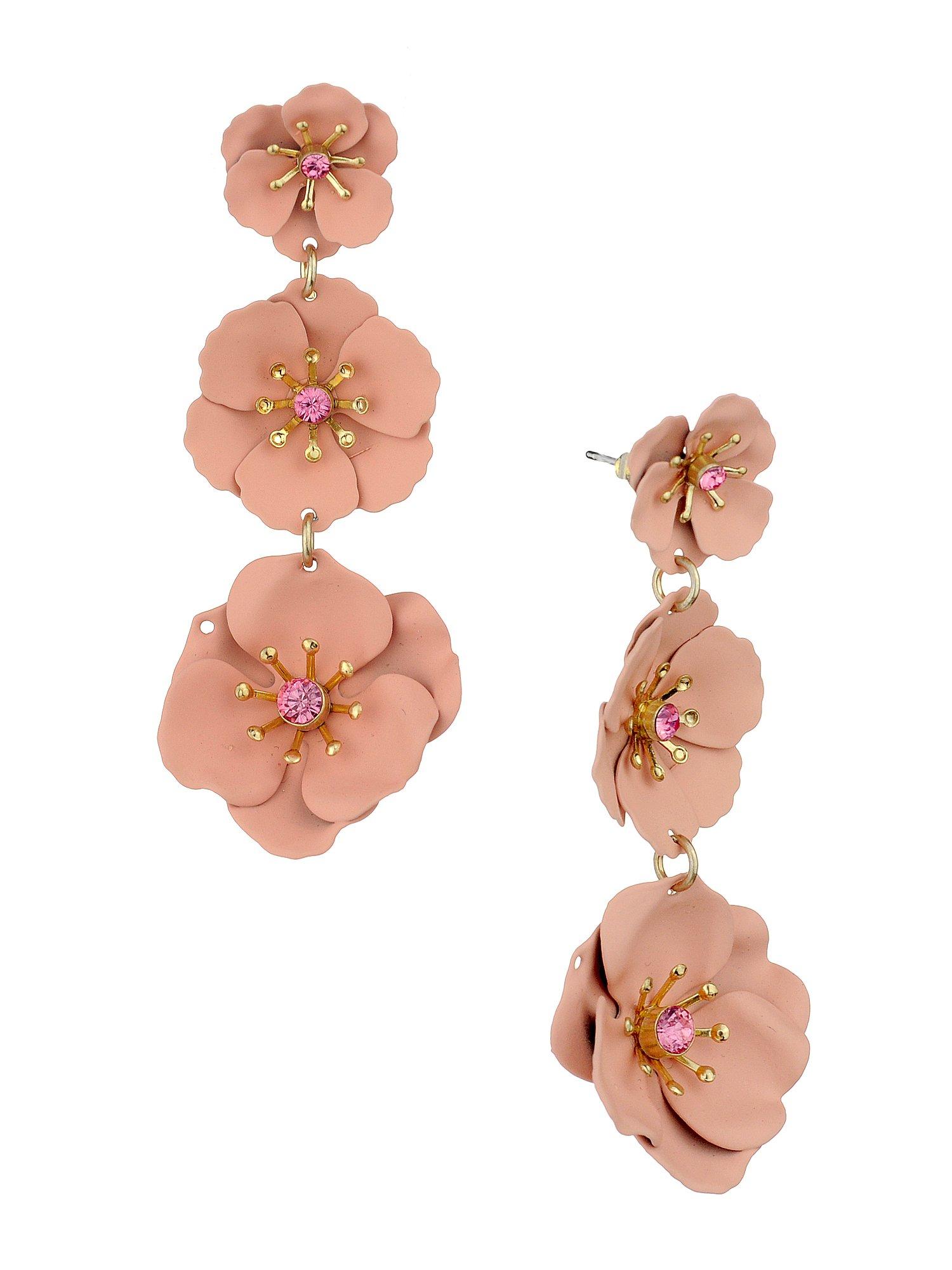 Women's Triple Metal Matte Flower Petal Pierced Dangle Earrings, Light Pink