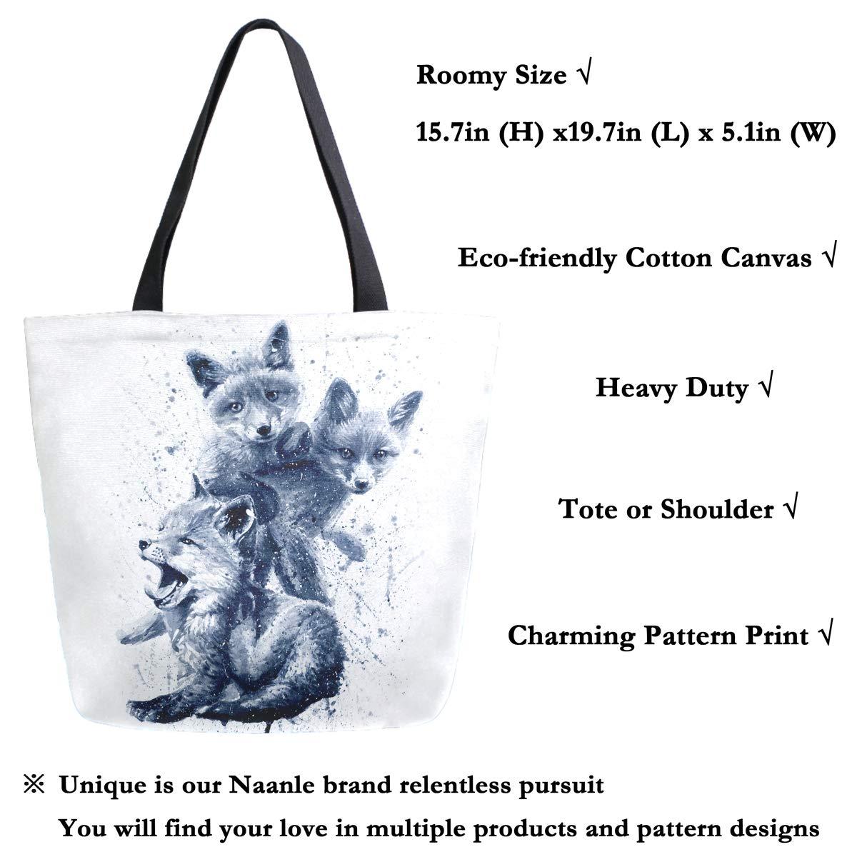 Naanle Animal Fox Sac fourre-tout en toile pour femme Grand sac /à bandouli/ère d/écontract/é Sac /à main aquarelle Renard r/éutilisable Multifonction Sac de courses en coton pour lext/érieur.