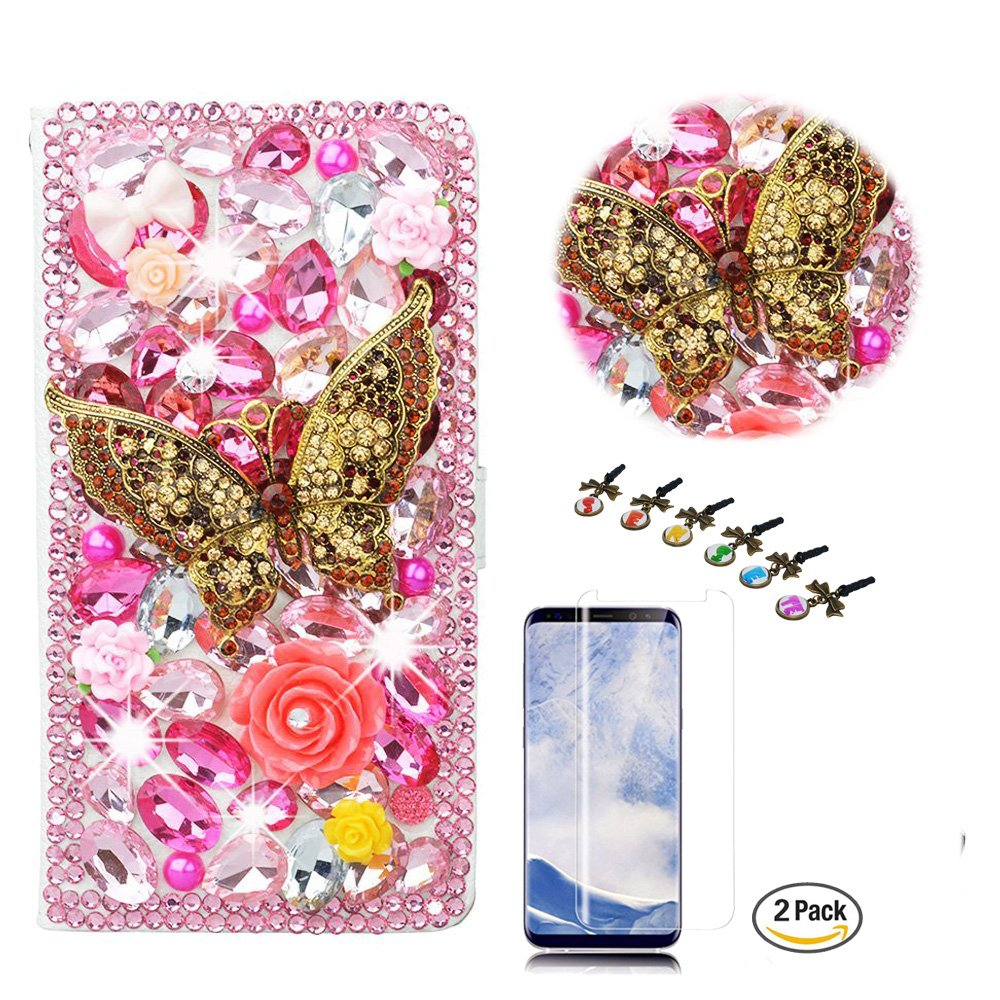 STENES Galaxy S8 Plus Case - Stylish - 3D Handmade Crystal Retro Butterfly Rose Floral Wallet Credit Card Slots Fold Media Stand Leather Cover for Samsung Galaxy S8 Plus with Screen Protector - Pink