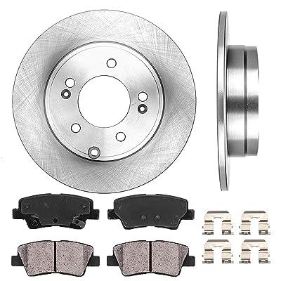 CRK12156 REAR 283 mm Premium OE 5 Lug [2] Brake Disc Rotors + [4] Ceramic Brake Pads + Clips: Automotive