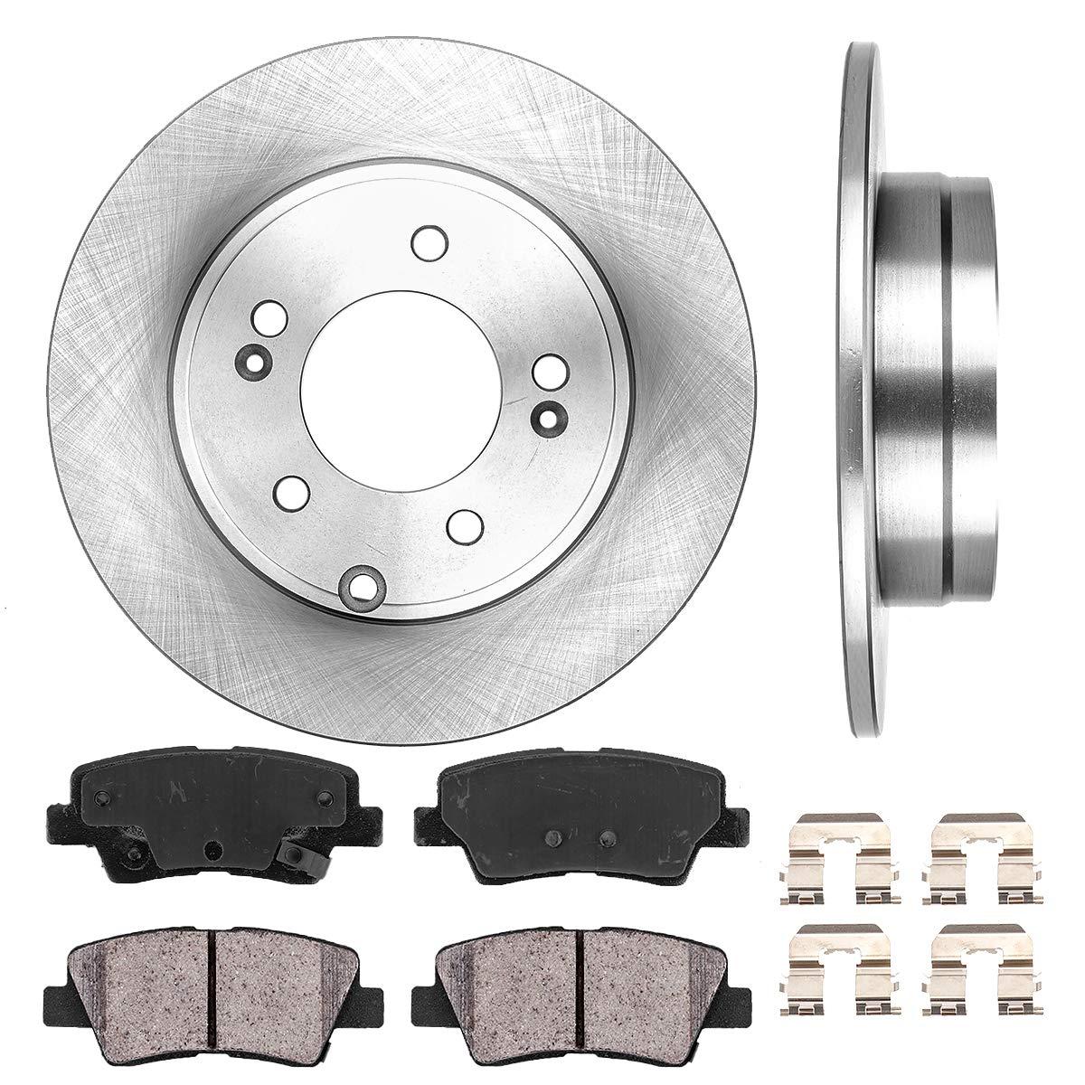 Fits 11 12 13 Sonata Optima Rear Drilled And Slotted Brake Rotors /& Ceramic Pads