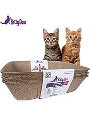 KittyDoo – lot de 3 Bac à litière Bio pour chat hygiénique, sans odeurs et bio-dégradable