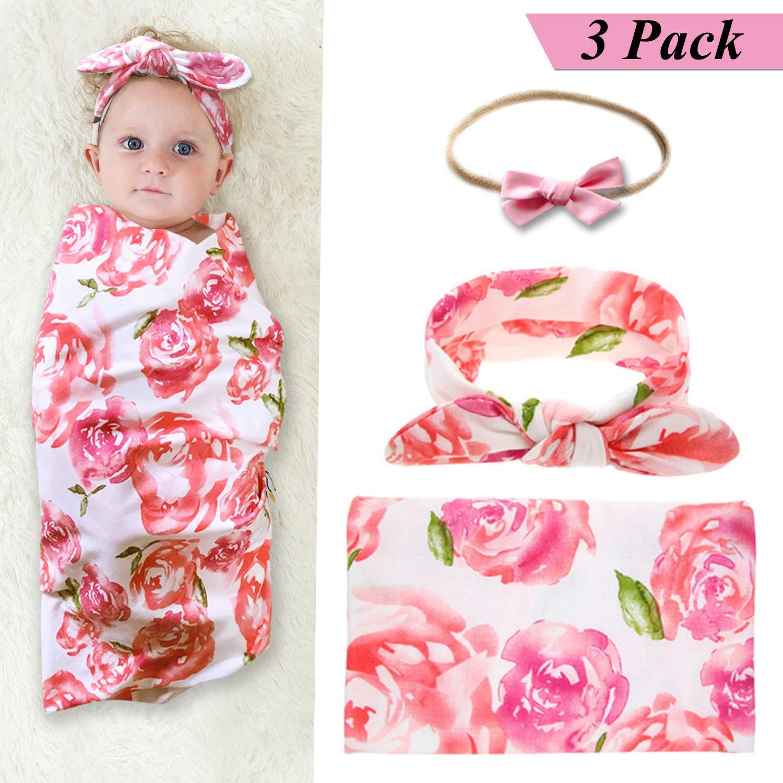 Newborn Baby Swaddle Blanket and Bow Headband Set Baby Receiving Blankets Baby Shower Gift (Orange) junsu