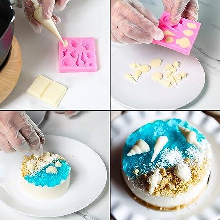 Amazon.com: NABLUE Set of 5 Mermaid Tail Seashell Silicone Fondant Molds for Baking Cake Decoration, Chocolate Candy Mold, Soap Mold Baking Tool, ...