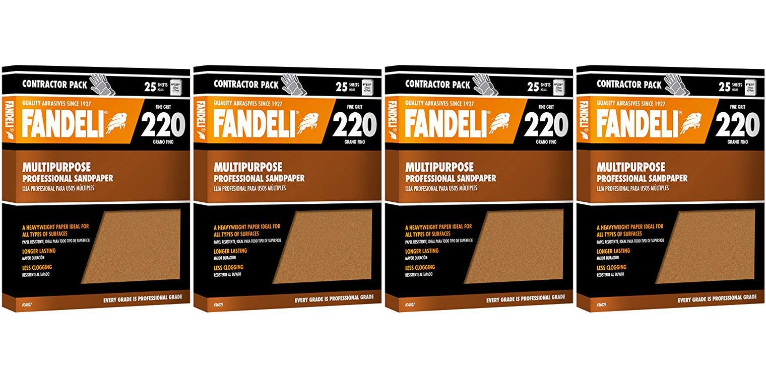 Fandeli 36027 220 Grit Multipurpose Sandpaper Sheets, 9'' x 11'', 25-Sheet (4-(Pack))