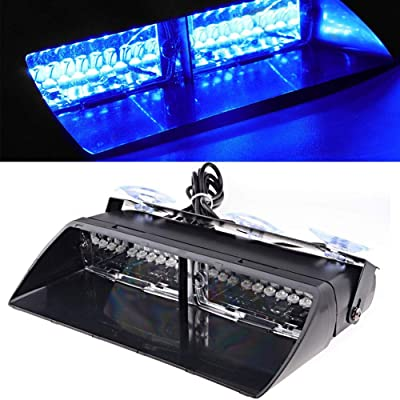 LED Emergency Strobe Lights Bar DIBMS 16 LED Car Truck Warning Flashing Hazard Light Windshield Light For Interior Roof Dash Windshield With Suction Cups Blue: Automotive