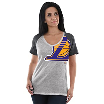 Los Angeles Lakers de la NBA de la mujer Stylin logotipo del equipo Heather raglán con cuello en V camiseta, Los Angeles Lakers, Gris: Amazon.es: Deportes y ...