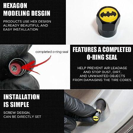 UATUO Universal Hexagon Shape for GTI Logo Emblem Car Wheel Tire Air Valve Cap Stem Dust Cover Black