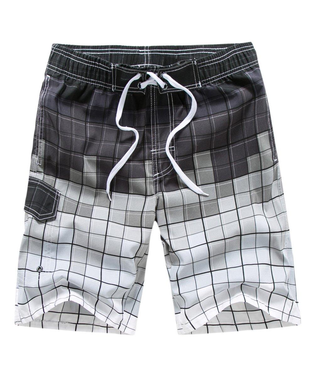 afb72404b9a3e Satankud Men's Plaid Swim Trunks Quick Dry Bathing Suits Boardshorts with  Lining Grey 3XL/37