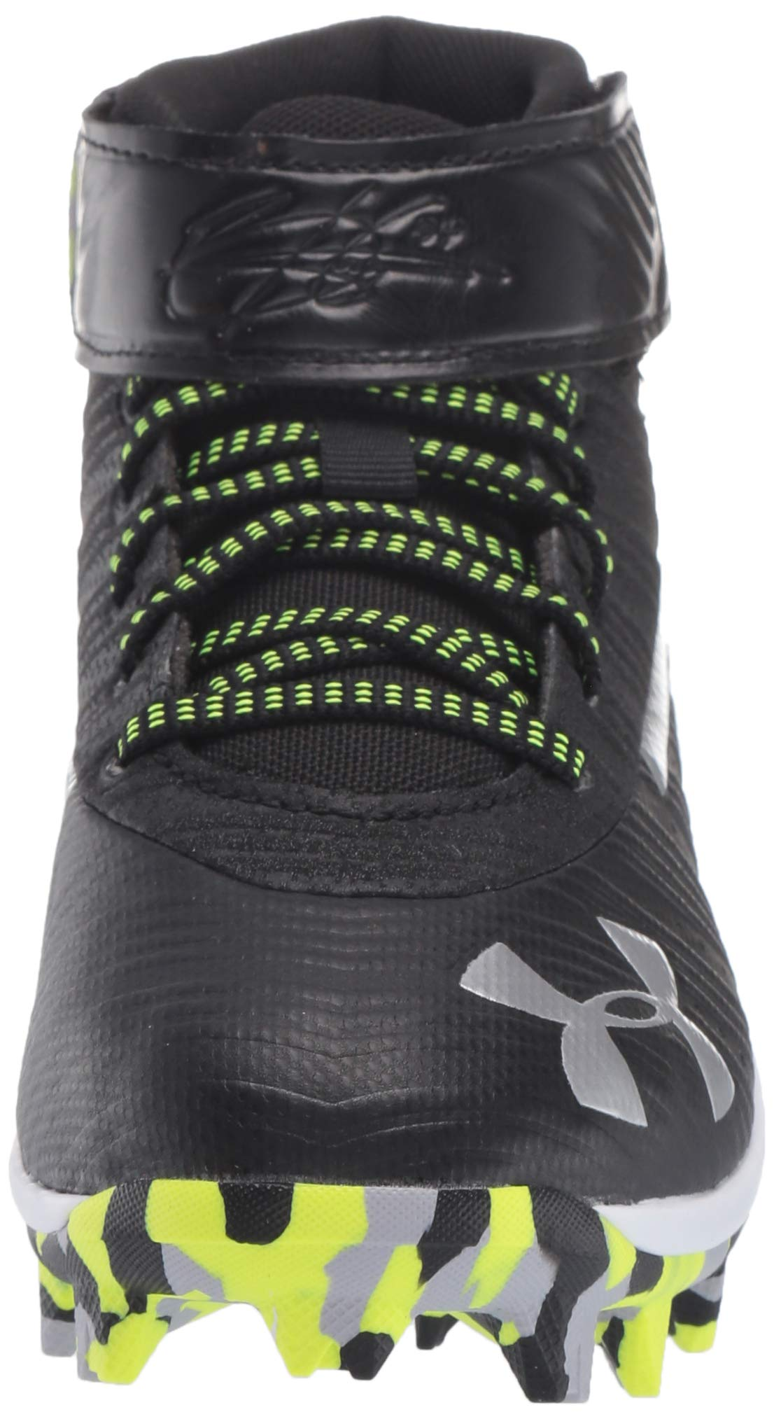 Under Armour Boys' Harper 3 Mid Jr. RM Baseball Shoe Black (001)/White 1.5 by Under Armour (Image #4)