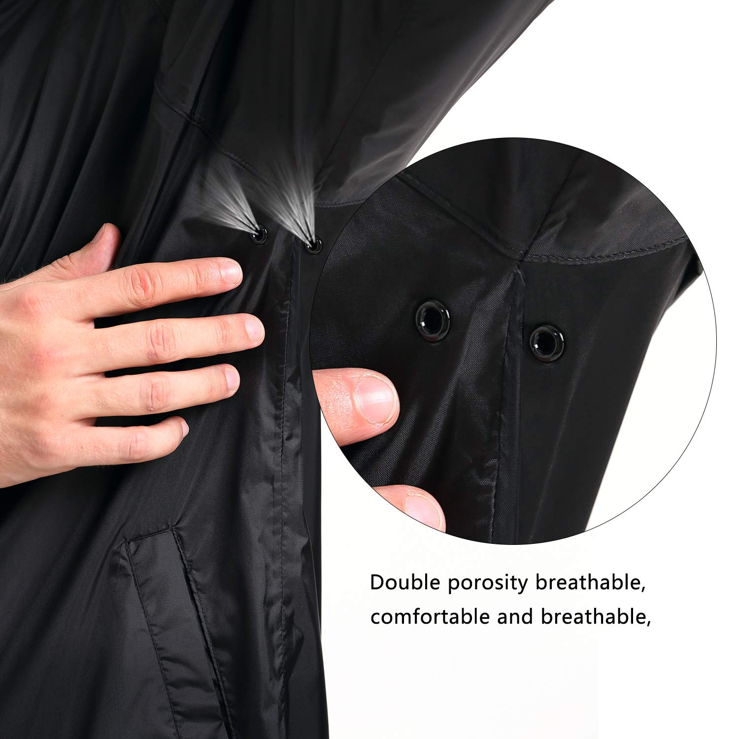 NICEWIN Portable Front Zip Rain Jacket-Pocket Size Breathable Hooded Pullover Raincoat Poncho for Men and Women