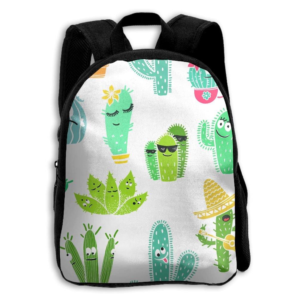 Kids School Bag Double Shoulder Print Backpacks Cacti Cool Travel Gear Daypack Gift by LAUR