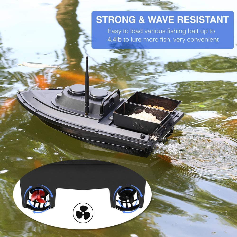 Lixada Wireless Remote Control Fishing Feeder Smart Fishing Bait Boat Toy RC Fishing Boat for Adults Beginners 540 Yards Remote Range