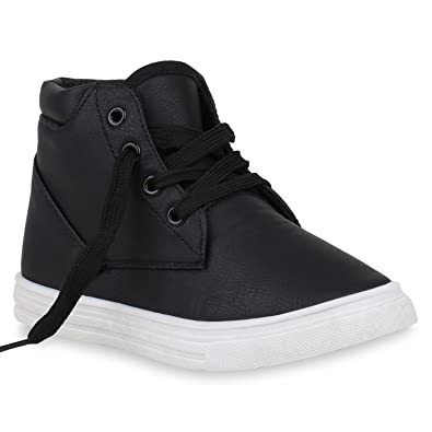 d82ebfae90a347 Kinder Sneaker High Turnschuhe Leder-Optik Schuhe Schnürschuhe 153294  Schwarz Basic 28 Flandell