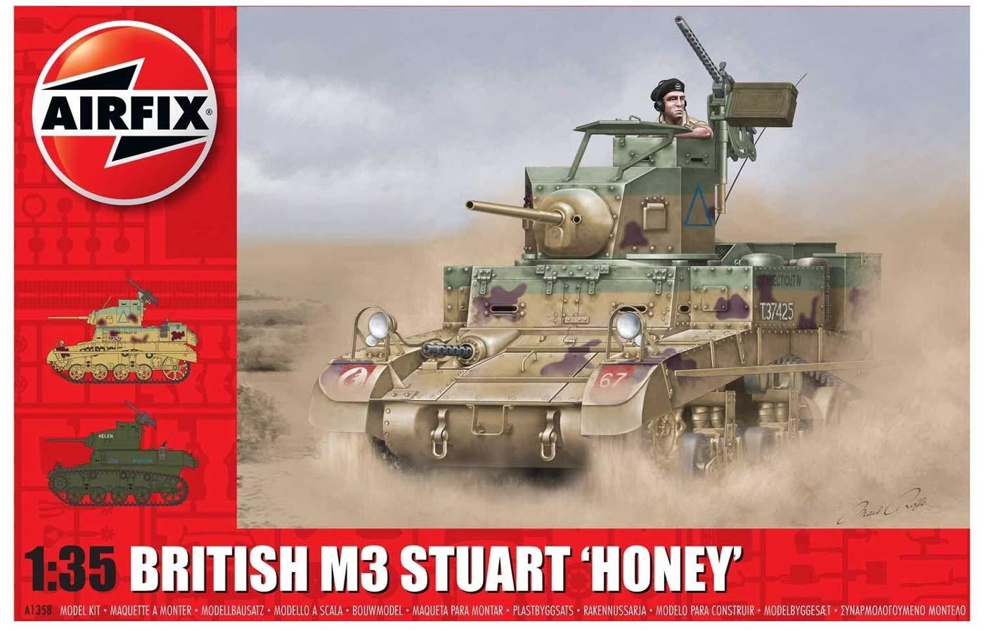Amazon.com: Airfix British M3 Stuart Honey A1358 - Juego de ...