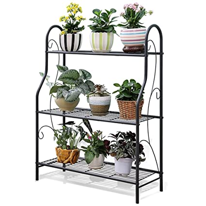 e314768280e7 3 Tiers Flower Stand - Metal Plant Stands - Indoor Outdoor Garden Balcony