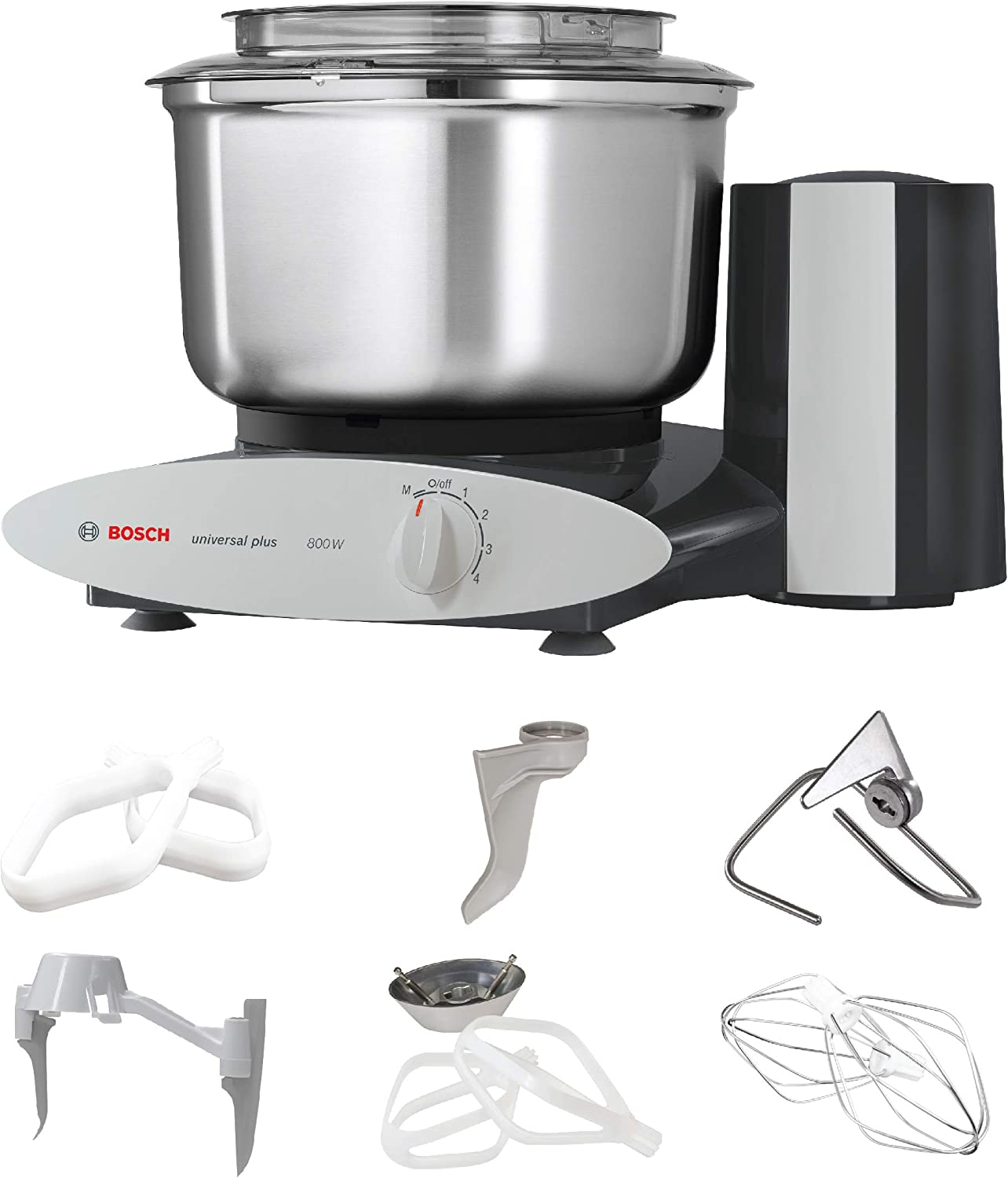 Bosch Universal Plus Stand Mixer - Black - Baker's Package with Additional Baking Attachments and Stainless Steel Bowl