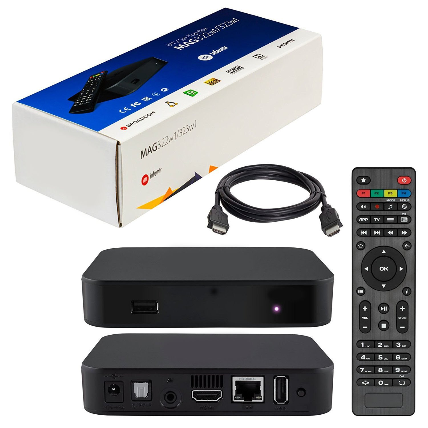 MAG 322 W1 IPTV BOX + IN BUILT WIFI + HDMI CABLE + REMOTE + POWER ADAPTER by MAG322-W1 (Image #1)